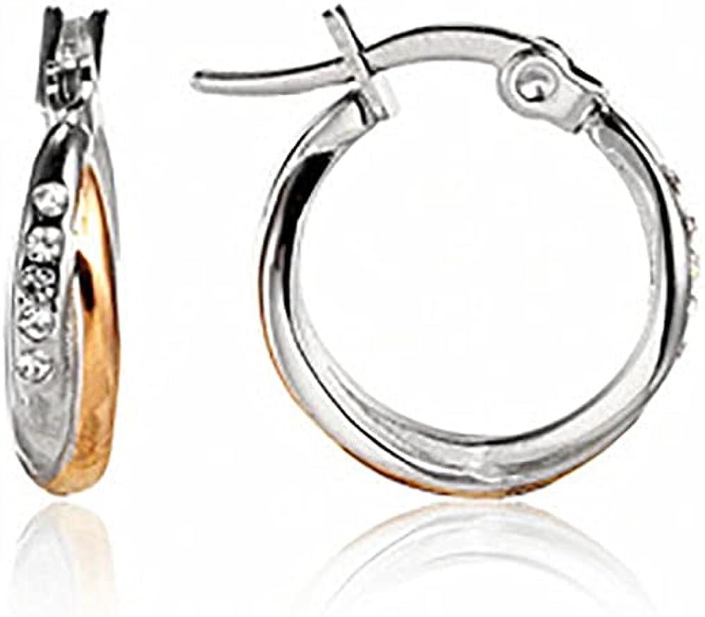 JOLCHIF Two Tone Hoop Earrings Cross 18k Gold Plated Cartilage Small Cubic Zirconia Hoop Earrings Fashion Jewelry Gift