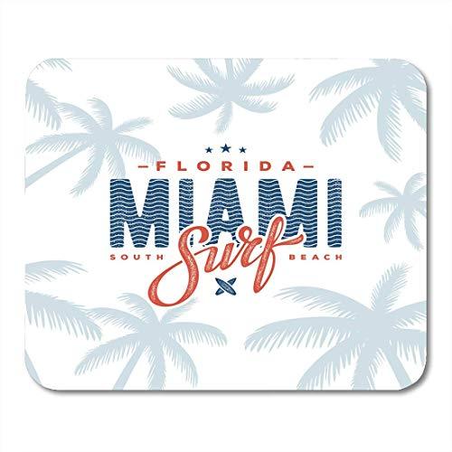 Mauspads Board Sport Miami Beach Florida T-Shirt mit Palm Tree Design Grafik Stempel Label Sea City Mouse Pad für Notebooks, Desktop-Computer Mausmatten, Büromaterial