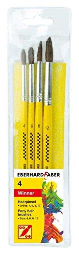 Eberhard Faber 579922 - Winner Haarpinsel, Set mit 4 Pinselgrößen, Rundpinsel für viele Zeichen- und Maltechniken auf unterschiedlichen Maluntergründen