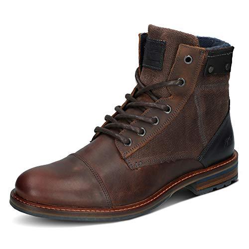 BULLBOXER Herren Stiefel, Männer Schnürstiefel,Boots,Chukka Boots,Schnürung, Boots Chukka schnürung Freizeit,braun,41 EU / 7.5 UK