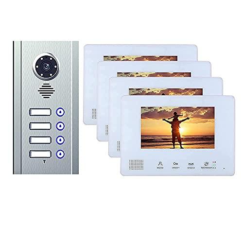 BJH Timbre de Puerta 4 apartamento Cerradura de Puerta electrónica casa visión Nocturna autobús de 7 Pulgadas 2 Cables videoportero teléfono Sistema de intercomunicación Kit para hogar