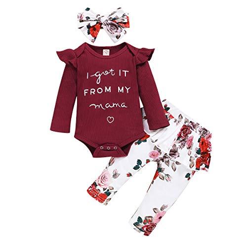 Ueohitsct Conjunto de ropa de bebé con letras + pantalones florales + diadema