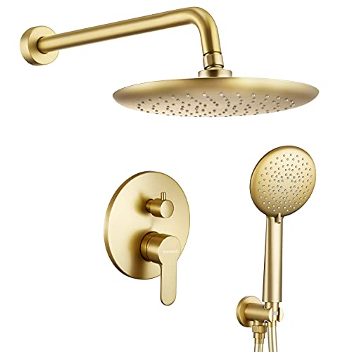 """Shower System, Wall Mounted Shower Faucet Set for Bathroom with High Pressure 10"""" Rain Shower head and 5-Setting Handheld Shower Set, 2 Way Pressure Balance Shower Valve Kit, Brushed Gold"""