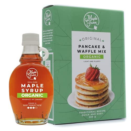 MapleFarm - Sciroppo d'acero e preparato per pancake BIO. Offerta: N.1 bottiglia di sciroppo d'acero BIOLOGICO + N.1 confezione di pancake mix BIOLOGICO