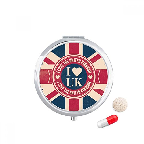 DIYthinker I love The United Kingdom Union Jack UK Vlag Travel Pocket Pill case Medicine Drug Storage Box Dispenser Mirror Gift