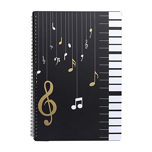 Notenordner Notenmappe/Ordner in A4-Briefgröße/Dokumente Halter Aufbewahrung 30 Taschen Clef/Kunststoff Konzert-Chorfolder für Musiker und Band Music Note/Schwarz