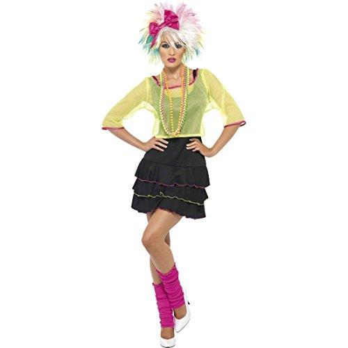 NET TOYS 80er Jahre Kostüm Popstar Damenkostüm Mehrfarbig M 40/42 Achtziger Outfit Nena Kostüm Discokostüm