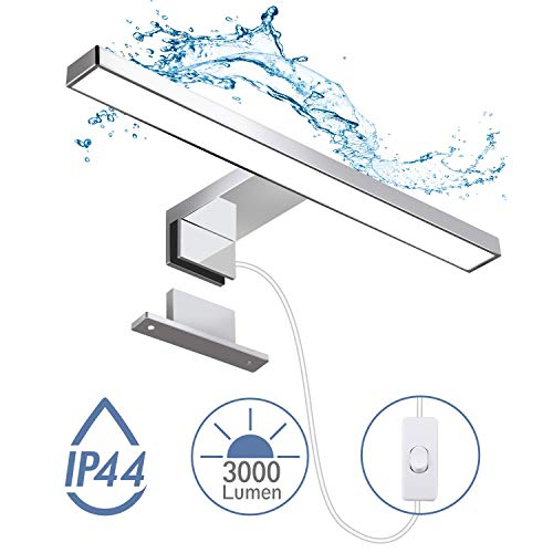 LED Spiegelleuchte, Hommie LED Badleuchte mit Schalter, Schminklicht, Schrank-Beleuchtung, Klemmleuchte, Schrankleuchte, Aufbauleuchte, Neutralweiß, 5W, 4000K, IP44, Produktlänge: 300 mm