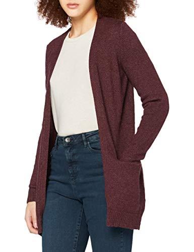Vila Clothes Viril L/s Open Knit Cardigan-Noos Chaqueta Punto, Morado (Winetasting Detail:Melange), 40 (Talla del Fabricante: Large) para Mujer