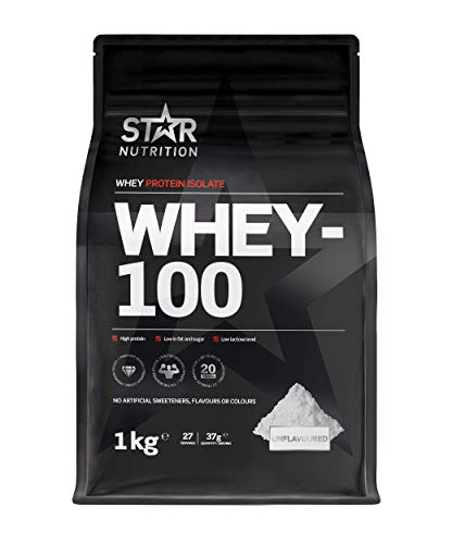 Star Nutrition | Whey 100 | Pure Isolated Diet Whey Protein Powder with High Protein & No Added Sugar | Protein Powders for Perfect Protein Shakes | Unflavoured | 1Kg