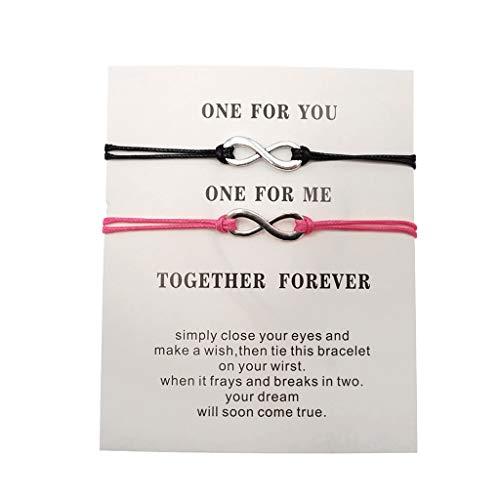 Rongzou - 2 pulseras hechas a mano para parejas de la suerte