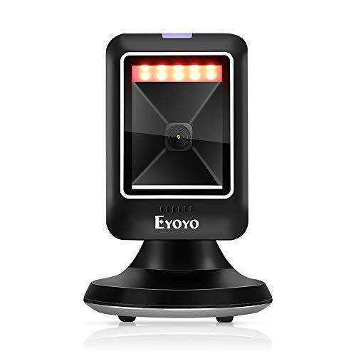 Eyoyo 2D 1D Escáner de Código de Barras de Escritorio, Lector de Código de Barras Omnidireccional Alámbrico con Escaneo de Detección Automática Manos Libres para Supermercado Biblioteca Tienda, etc.