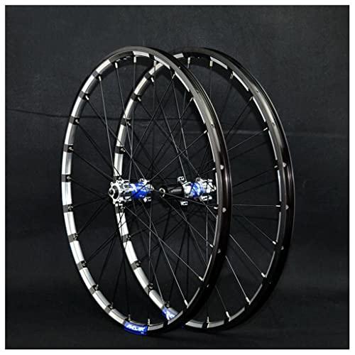 VPPV 26 Pollici 27,5' 29er Ruote Bici MTB, Doppio Muro Lega di Alluminio 24 Buche Rilascio Rapido Ruote per Cerchi da Montagna per Disco 7 8 9 10 11 velocità Nero (Size : 29 inch)