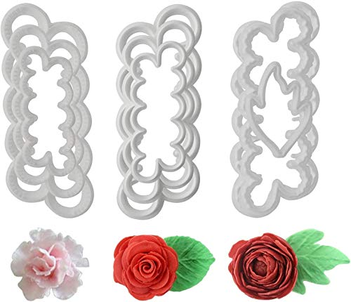 9Pcs Cutters 3D Roses Carnations Peony Petal Cake Cutter Flower Fondant Icing Tool Decorating Mould DIY Baking Accessories Mould