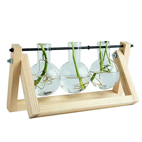 Glazen bloembak vaas met retro massief houten standaard en metalen draaibare houder Transparant hout 3 bekers