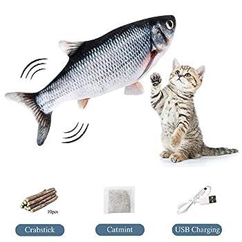 FINEVERNEK Poisson pour Chat+10Pcs Baton Chat Catnip Bio Naturel, Jouets Poisson Electrique Rechargeable USB Peluche avec Cataire, Poisson Simulation en Mouvement, Jouet Chat Herbe à Chat