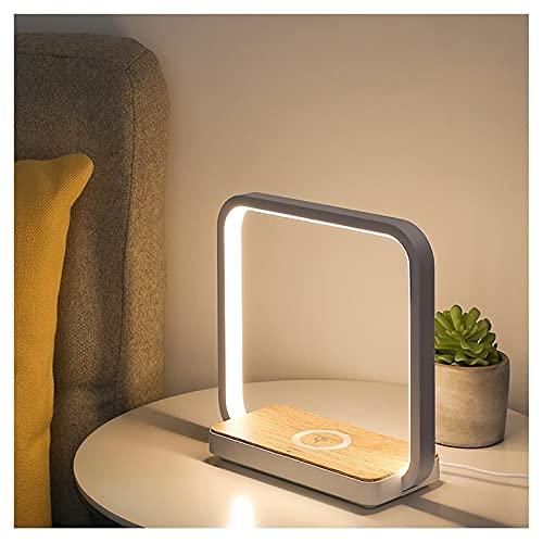 Lámparas de mesa y mesilla de noche Lámpara de mesa de escritorio cuadrada creativa Lámpara de mesa, cariño ocular, lámpara de cabecera de carga inalámbrica, control táctil, lámpara de oficina regulab