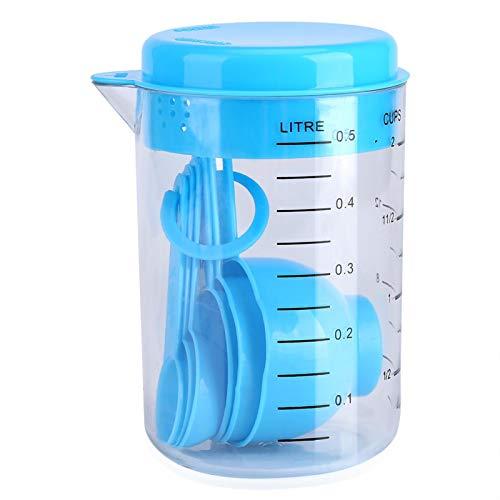 Shoplice Taza medidora 7Pcs/Set Tazas medidoras de plástico + Cucharas Medir té Café Utensilio de Cocina Azul