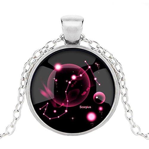 Dunbasi 12 Sternzeichen Kette Sternbilder Horoskop Anhänger Nachtleuchtend Schmuck Glas Cabochon Silber Halskette für Damen/Herren Geschenk (Skorpion)