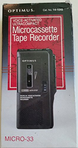 Optimus Micro-33 Voice Activated Ultracompact Microcassette Tape Recorder