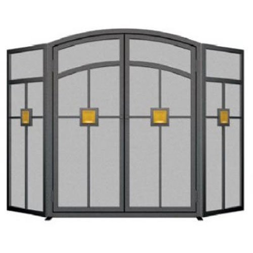 Panacea Products 15137 3-Panel Mission Fireplace Screen,Black
