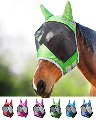 Harrison Howard CareMaster Pro Luminous Fliegenmaske UV-Schutz mit Ohrenschutz Smaragd Grün Warmblut (L)