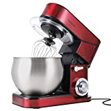 Stand Mixer, CUSIMAX 6.5QT Stainless Steel Dough Mixer 6-Speed Tilt-Head Food Mixer for Baking with Dough Hook, Wire Whip & Flat Beater, Splash Guard Kitchen Mixer for Home Cooking, Electric Mixer Red
