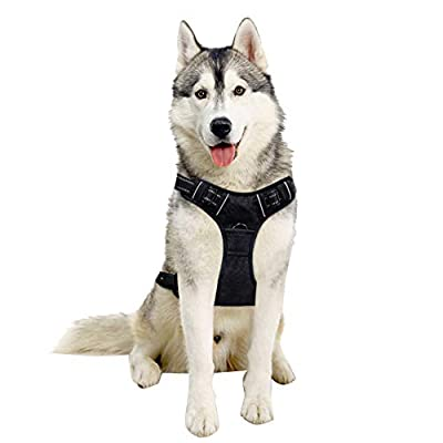 Dog Harness - No-Pull Adjustable Reflective Vest Easy Step-in Outdoor Harness for Small Medium Large Dog - Walking Hiking and Training