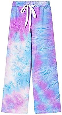 Betusline Girls' Tie Dye Print Wide Legs Pants, Elastic Waist Drawstring Casual Palazzo Pajama Lounge Pants with Pockets, Purple Blue, 7-8 Years = Tag 140