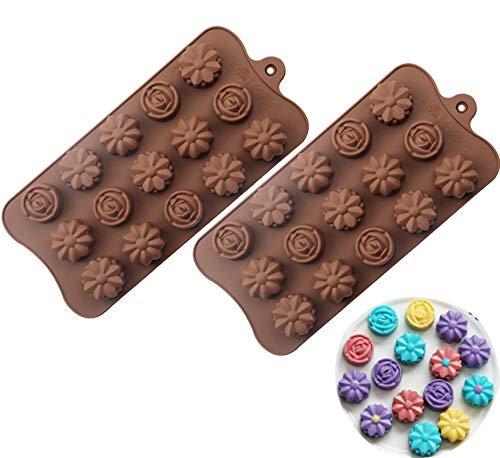 Lot de 2 moules à chocolat en silicone, 30 moules en forme de fleur, moules pour chocolat, bombes de graisse Keto et beurre d'arachide, tournesol, rose, chrysanthème, marguerite