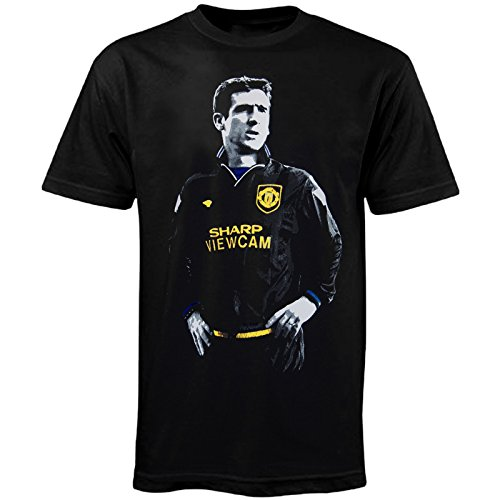 Manchester United - Camiseta Retro - con la Leyenda del fútbol Eric Cantona - Negro 1994 - Large
