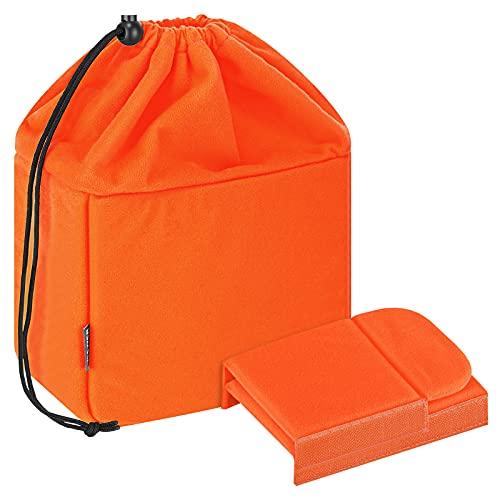 Neewer® - Custodia per fotocamera, pieghevole, con divisori imbottiti, per Sony Canon Nikon DSLR, luce di registrazione o flash (arancione)