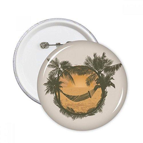 Doe-het-zelf denker kokosnoot boom wolk hangmat strand ronde pinnen badge knop kleding decoratie 5 stks gift XXL Multi kleuren