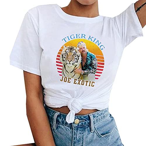 Tiger King Joe Exotic Camiseta Manga corta de moda del diseño de la camiseta de las mujeres de peso ligero manga corta camiseta unisex de los hombres y las mujeres de los hombres Slim Fit de manga cor