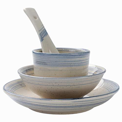Vajillas combinadas Platos creativos retro Conjunto de cuatro piezas Platos, tazas y cucharas, vajilla de cerámica del hotel Juego de cuenco y plato