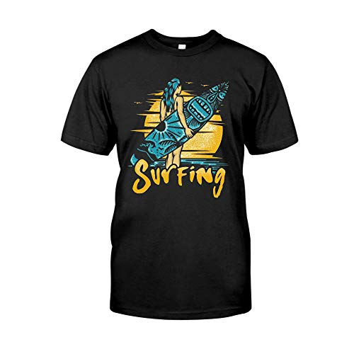 Vintage Retro Surfing Girl Mug, Surfer, Beach Surfing, Traveling Surfing Lover, Summer Is Coming, Birthday Christ-mas Gift, Gift For Women Girl Friends Coworkers T-Shirt