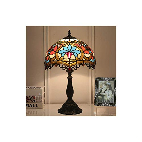 YXX Tiffany Lampe Buntglas Lampenschirm Tischlampe, Nachtlicht für Schlafzimmer, Startseite Art Deco, 12 Zoll Antike Basis, Gebraucht im Wohnzimmer und Schlafzimmer Couchtisch Tischtisch