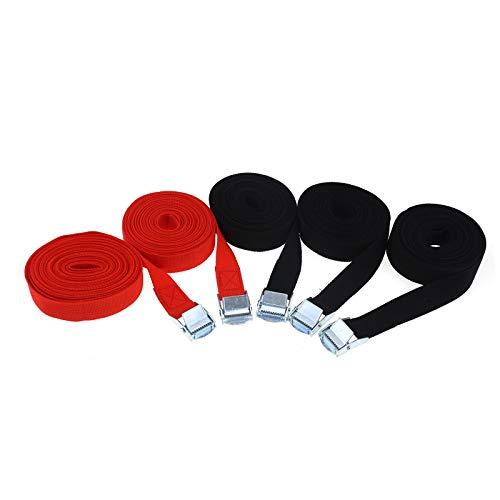 ENET 5 Pack spanriemen Lashing Strap Trailer Tie Down riemen Zwart/Rood