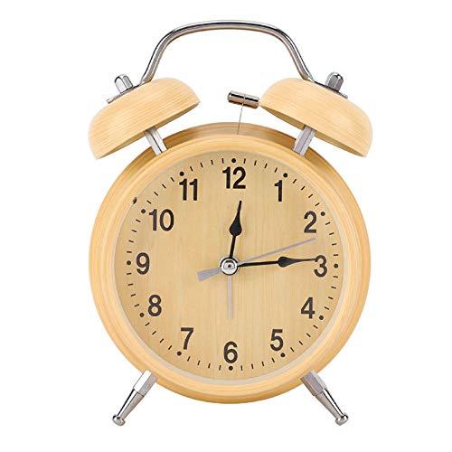 iFCOW - Reloj despertador retro de metal con doble campana, reloj despertador mecánico, reloj de metal, doble campana doble