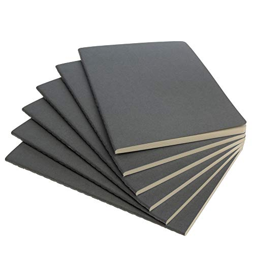 """Simply Genius (6 Pack) Travel Journal, Travelers Notebook Set: Softcover Journals to Write in for Women, Journal for Men, Writing Journal Notebook Lined, 92pg Ruled, 5.5"""" x 8.3"""", Gray"""