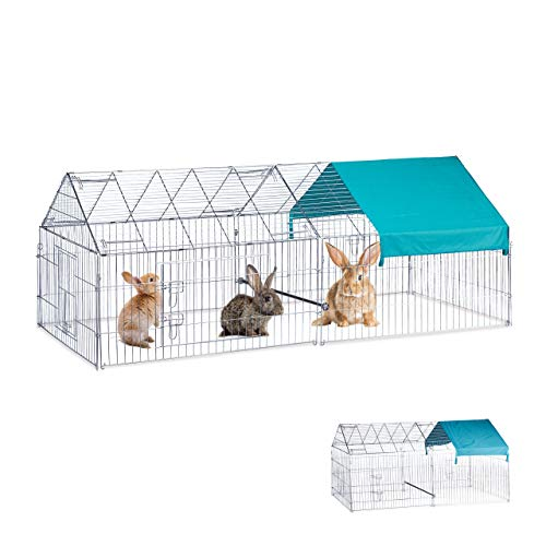 Relaxdays vrijlooponderstel L, konijnen, kippen, optionele zitstang, vrije bekken groot, HBT 85x100x220cm, verzinkt, zilver