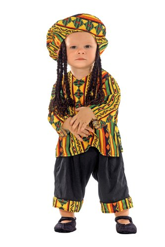 Clown Republic- Rasta Man Costume, Garçon, 09118/18, Blanc