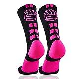 Londkaron Volleyball Socks with Volleyball Logo, Soft Mid Calf Crew Socks (Black/Neon Pink - 1 Pair, Medium)