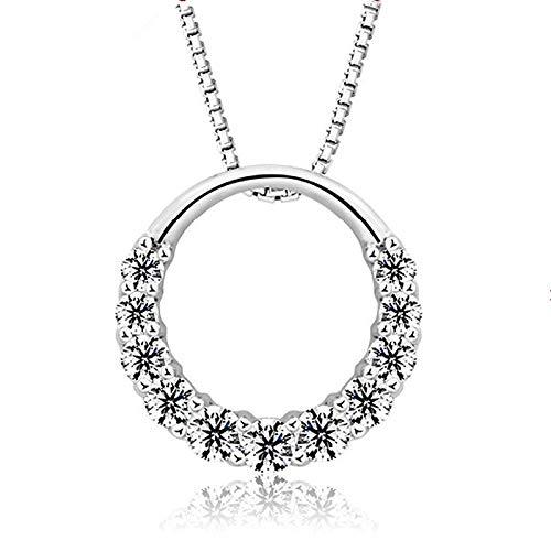 mingtian Plata de Ley de Moda Redonda de Cristal Brillante para Mujer Collares Pendientes joyería Mujer Cadena de Caja Corta