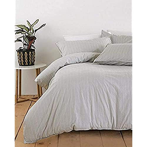 Riva Home Linear SB Duvet Set Grey/White, Coton, Grau, Single