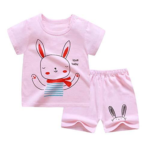 fedsjuihyg Los Niños De Manga Corta Pijamas Set De La Ropa del T-Cortocircuitos De La Camisa del Bebé Niños Trajes Rosa De 90 Cm 2 Piezas De Ropa Linda De Pascua