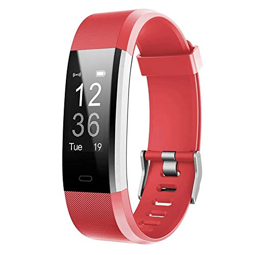 LETSCOM other Id115plus HR, Activity Tracker Heart Rate Monitor, Waterproof Smart Fitness Band Step, Calorie Counter, Pedometer Watch Kids Women Men, Red