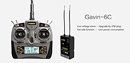 DETRUM 2.4G GAVIN-6C 6CH TX Transmitter & Istone SR86A 8CH Rx Receiver with 6-Axis Gyro Programmable ABS Auto Balance Function