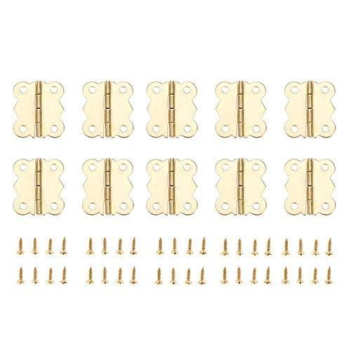 Bisagras de Puerta Decorativas para gabinete de Metal Dorado de 10 Piezas, Cajas de Madera de 4 Agujeros, bisagras para Muebles con Tornillos