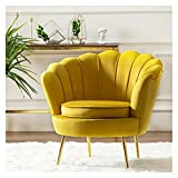 HAQTXI Petal- Shaped Velvet Chair Accent Armchair with Metal Legs Minimalist Sofa Chairs Comfy Single Sofas for Living Room Bedroom Home Office (Color : Yellow)